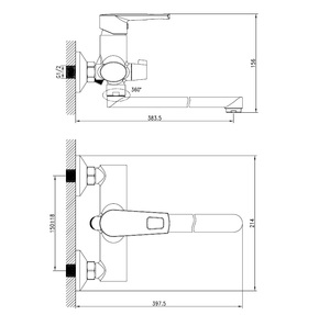 Смеситель для ванны Iddis Runo с длинным изливом RUNSBL2i10