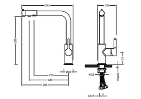 Смеситель для кухни под фильтр Timo Hette 1026/03F Черный