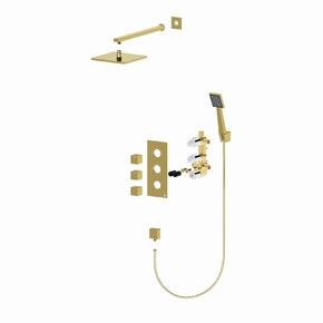 Душевая система встроенная с термостатом Timo Tetra-Thermo SX-0179/17SM Золото матовое