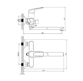 Смеситель для ванны Iddis Male с длинным изливом MALSBL2i10