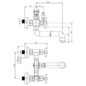 Смеситель для ванны Bennberg двухручковый кор. излив 521121 Хром