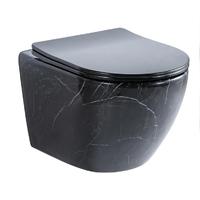 Унитаз подвесной безободковый Ceramalux RIMLESS 2212BM, черный мрамор