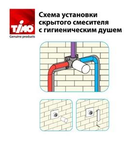Смеситель встроенный с гигиеническим душем Timo Torne 4389/03SM Черный