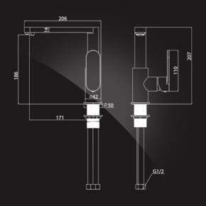 Смеситель Elghansa PLATEA 5601102 для кухни однорычажный, хром