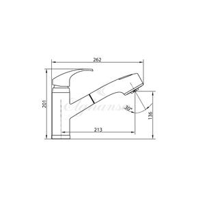 Смеситель Elghansa KITCHEN COLOR 5652371-White Stone для кухни однорычажный с выдвижной лейкой
