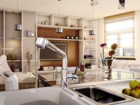 Смеситель Elghansa KITCHEN 5652438 для кухни однорычажный с выдвижной лейкой, хром