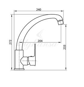Смеситель Elghansa KITCHEN 5661097-2 для кухни однорычажный с двойным аэратором, хром