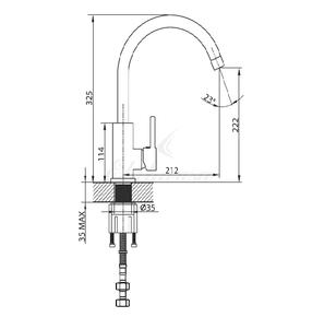 Смеситель Elghansa RUND 56B1829 для кухни однорычажный, хром
