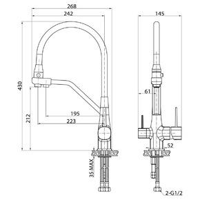 Смеситель для кухни под фильтр Elghansa 56B5128 с выдвижной лейкой, однорычажный, хром