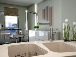 Смеситель Elghansa CLIQ 56H7324 для кухни однорычажный с раскладным изливом и выдвижной лейкой, хром