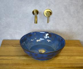 Керамическая раковина BronzeDeLuxe SALAMANDER 2000 сине-коричневый глянец
