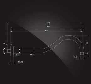 Кронштейн для верхнего душа 415х18 мм Elghansa CR-06 хром