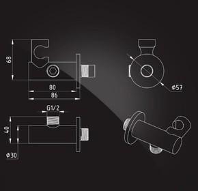 Подключение для душевого шланга Elghansa WS-19, хром