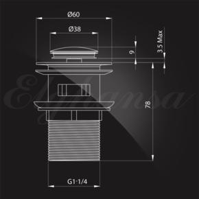 Донный клапан Elghansa WASTE SYSTEMS WBT-121 для раковины с переливом, хром