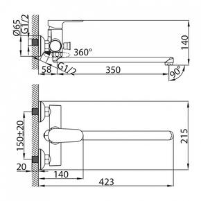 Смеситель для ванны Milardo Dover с длинным изливом DOVSBL0M02