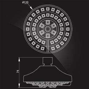 Лейка душевая Elghansa SHOWER HEAD MS-071 с шарниром, хром/белый