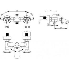 Смеситель для ванны KAISER Trio 57022-1 Bronze