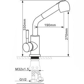 Смеситель для кухни Melana MLN-F8109 с вытяжной лейкой