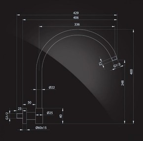 Кронштейн для верхнего душа 400х22 мм, Elghansa CR-04 хром