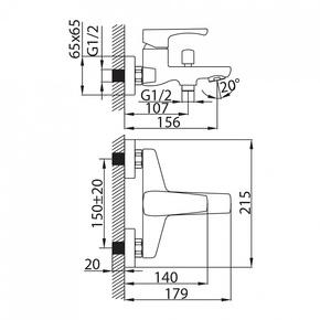 Смеситель для ванны Milardo Labrador с коротким изливом LABSB00M02