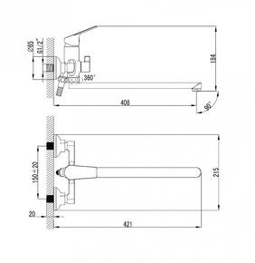 Смеситель для ванны Milardo Nelson с длинным изливом NELSBLCM10
