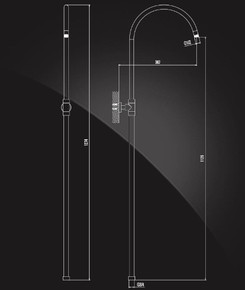 Труба душевая Elghansa SB-2D с кронштейном, хром