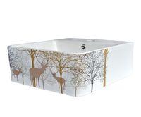 Керамическая раковина BronzeDeLuxe ЭЛЬЗАС 2035 белая с декором цветы