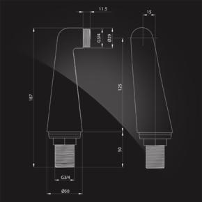 Уголки для смесителя на край ванны Elghansa UNIT AC-12, хром
