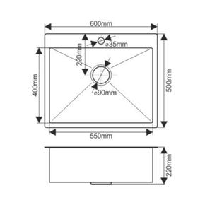 Мойка H6050 MELANA ProfLine 3,0/200 САТИН врезная прямоугольная H6050