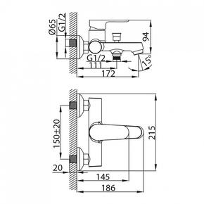 Смеситель для ванны Milardo Dover с коротким изливом DOVSB00M02