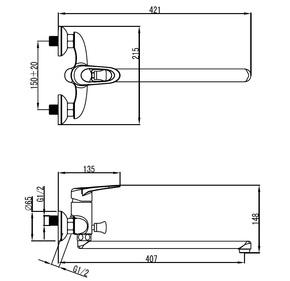 Смеситель для ванны Milardo Adriatic с длинным изливом ADRSBL0M02