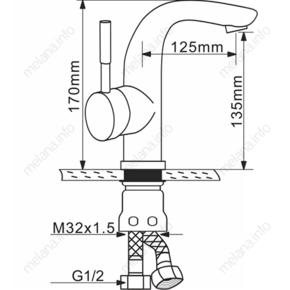 Смеситель для раковины Melana F6105Р нержавеющая сталь