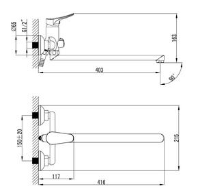 Смеситель для ванны Milardo Volga с длинным изливом VOLSBLCM10
