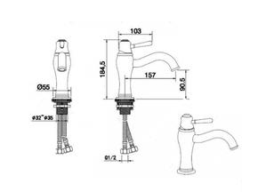 Смеситель для умывальника Bennberg однорычажный с гигиенической лейкой 110H17 Бронза