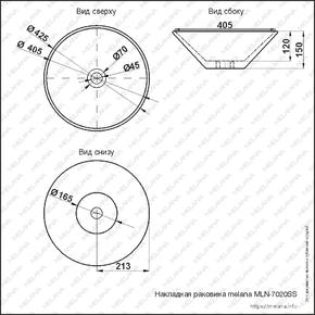 Керамическая раковина Melanа MLN-7020SS, серебро