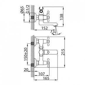 Смеситель для ванны Milardo Bosfor с коротким изливом BOSSB00M02