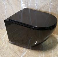 Подвесной безободковый унитаз Ceramalux RIMLESS CL 2196-18 черный глянцевый
