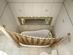 Карниз дуговой для ванной с кольцами Monterno CR-3-Bronze 1260-2080 мм