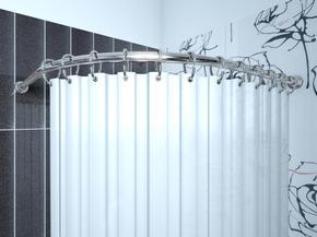 Карниз угловой для ванной с кольцами Monterno CR-4-Chrome 920x920 мм