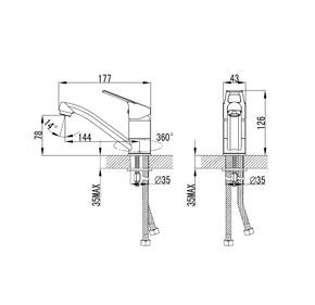 Смеситель для умывальника Milardo Amur с поворотным изливом AMUSBR0M01