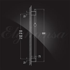 Душевой гарнитур Elghansa SHOWER RAIL SB-91S 800 мм c мыльницей, хром