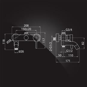 Душевая система Elghansa SHOWER SET 2330524-2L (Set-21), хром