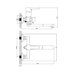 Смеситель для ванны Iddis Sena с длинным изливом SENSBL2i10