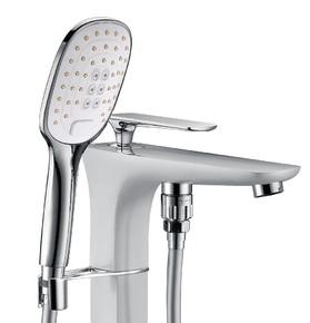 Смеситель для ванны напольный Timo Helmi 4000/00-16Y-CR Хром/белый