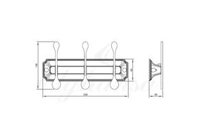 Панель Elghansa HERMITAGE HRM-730-Chrome с 3 плоскими крючками