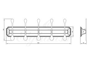 Панель Elghansa HERMITAGE HRM-750-Chrome с 5 плоскими крючками