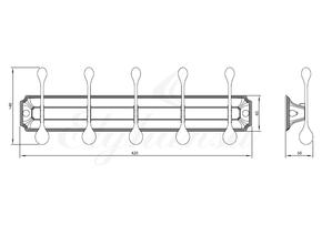 Панель Elghansa HERMITAGE HRM-950-Gold с 5 круглыми крючками