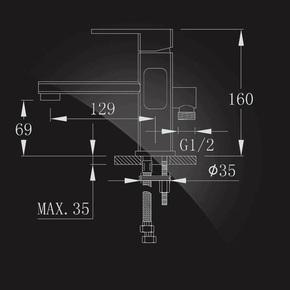 Смеситель Elghansa MONDSCHEIN 1602235 для умывальника с возможностью подключения шланга