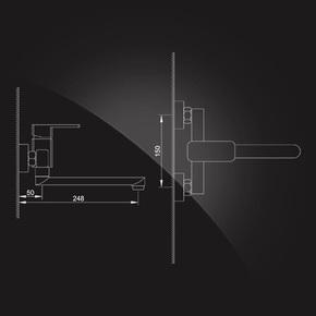 Смеситель Elghansa MONDSCHEIN 3520235 настенный однорычажный, хром