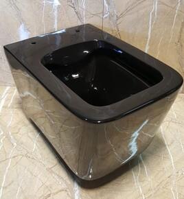 Керамический безободковый унитаз Ceramalux NS5170-18 черный глянцевый